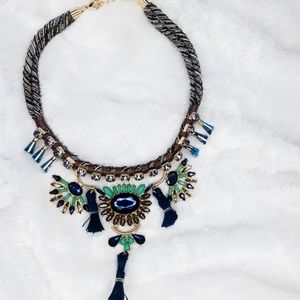 Tweed rope, tassels  & stones necklace- BLUE
